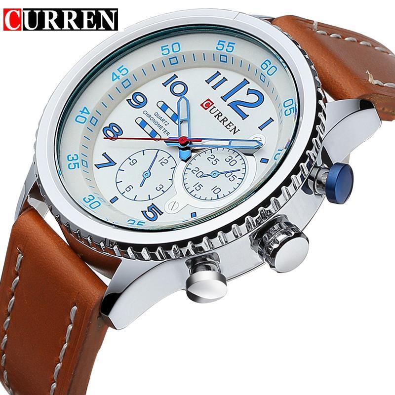 00d495fb632f Compre Curren 2018 Blanco Azul Reloj Hombre Marrón Cinturón De Cuero  Genuino Relojes Comerciales Relojes De Pulsera De Cuarzo Para Hombres  Relogio Masculino ...