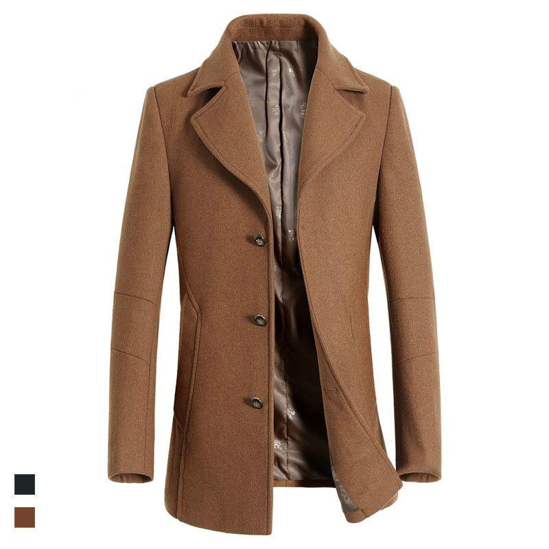 55d0c2bccdb 2019 2018 Autumn Winter New Men S Wool Coat For Men Business Casual Fashion  Men Woolen Slim Man Jacket Brand Clothes XD536 From Lorsoul