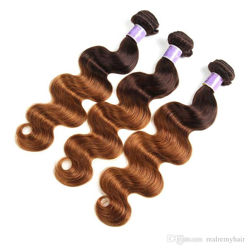 Ombre Brazilian Blonde Human Hair Bundles With Closure Cheap Body Wave Hair Weave With Lace Closure Dark Brown Virgin Hair Extension