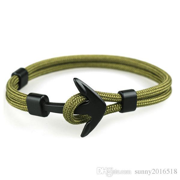 Nova moda Punk Preto Anchor pulseira artesanal poliéster Cadeia Cord For Men metal Sports Hooks Bangles Jóias presente