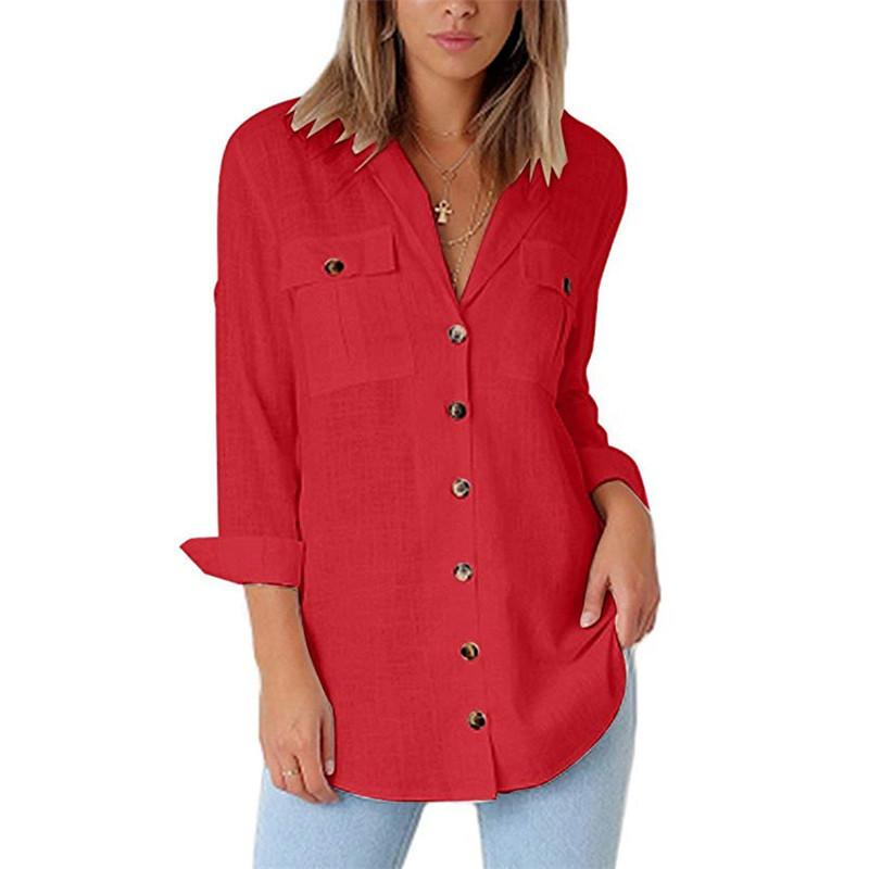 7ef0ed1fd3d 2019 2019 Autumn Blouse Women Office Buttons Long Sleeve Shirt With Pockets  Loose Solid Turn Down Collar Ladies Tops Blusas Plus Size From Stephanie01