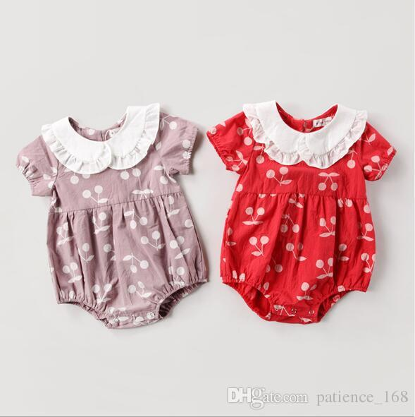 romper 2018 hot selling INS summer new style kids short sleeve Fashion cherry printing romper girls high quality cotton doll collar romper