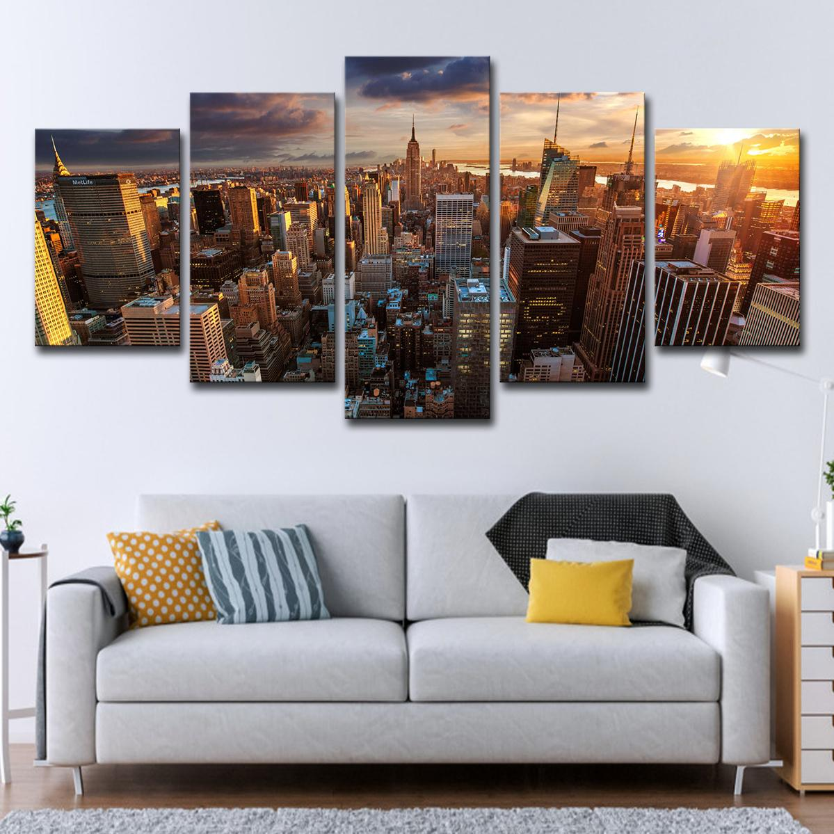 5 Pcs Prints Pictures Modular Canvas Poster Wall Art Framework 5 Pieces New York City Building Sunset Landscape Painting Home Decor