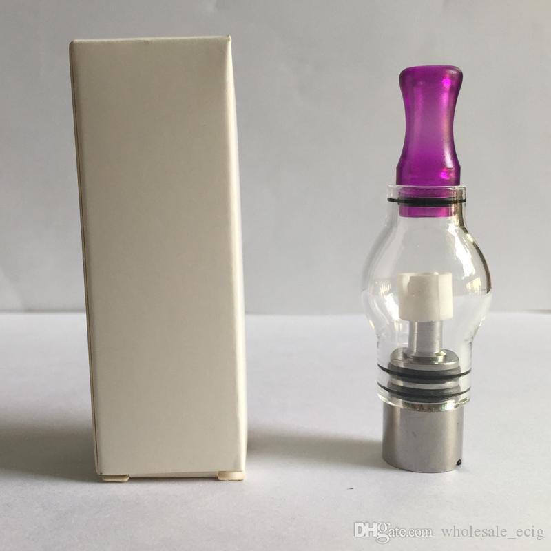 Bulb Estilo Globo do vidro Wax Atomizador Single Dual cerâmica Quartz algodão Bobinas seco Herb vaporizador Tanque substituição da bobina Para Ego T Evod Bateria