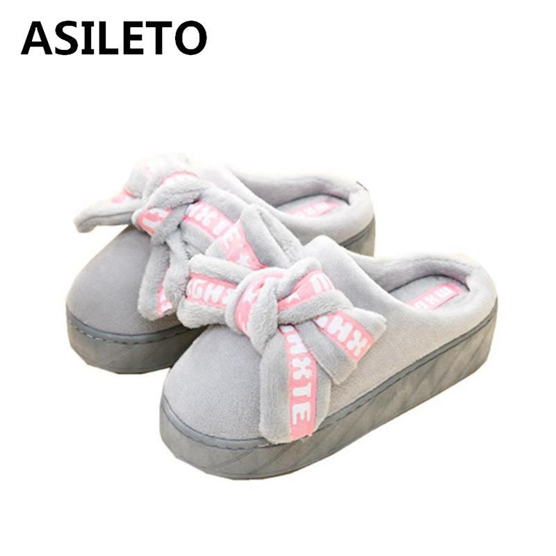 bef6b651d397 ASILETO 2018 New Bedroom Slipper Waterproof Cartoon Slippers Woman Wedge  Shoes Platform Cotton Home Slippers Winter Warm Indoor Boots On Sale  Birkenstock ...
