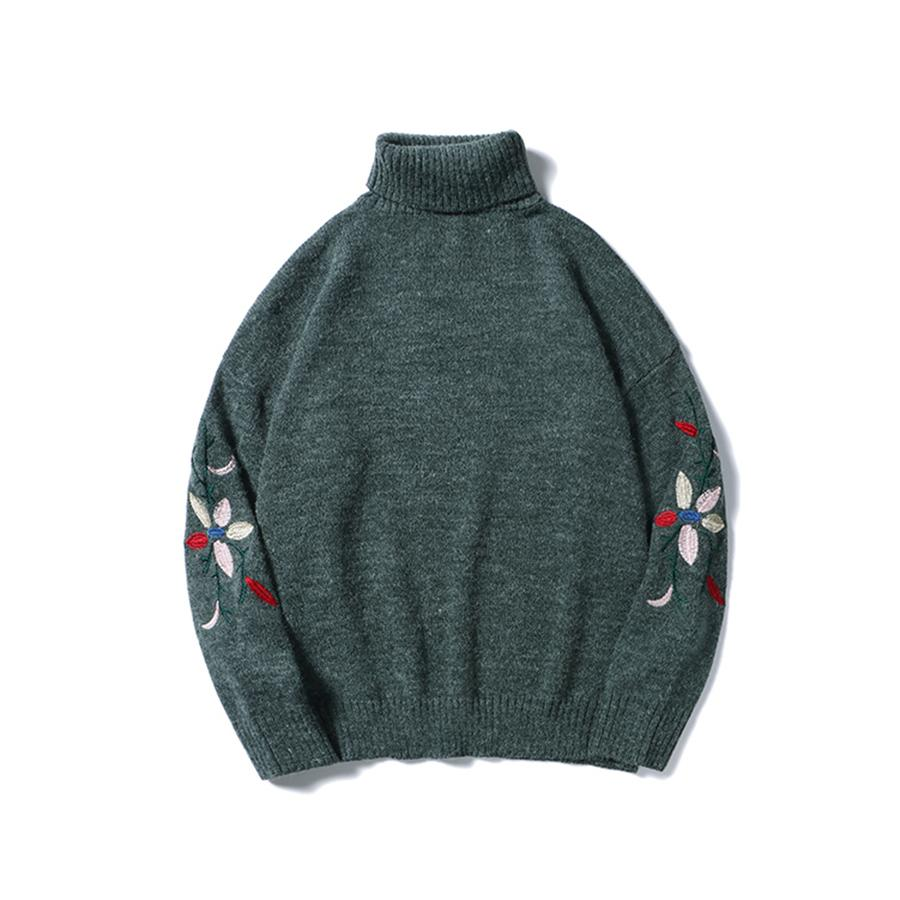 Geometric Vintage Sweater Knit Malha Korean Turtleneck Long Mens