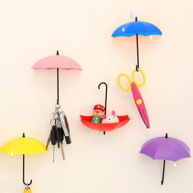 Новый Горячий один набор 5 шт. / Лот Красочный Зонтик Настенный Крюк Ключ Заколка Для Волос Держатель Организатор Декоративные Стойки