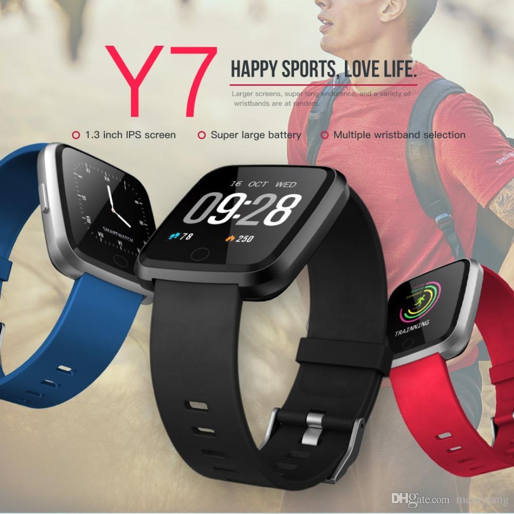 00b62f5bd8ba Y7 Inteligente Pulsera de Fitness Presión Arterial Oxygen Sport Tracker  Reloj Impermeable Monitor de Ritmo Cardíaco Muñequera Para Hombres Mujeres