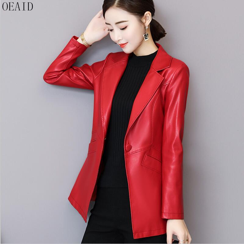 e2c34b4f04e OEAID Big Size Leather Coat Women Spring 2018 New Leather Jacket ...