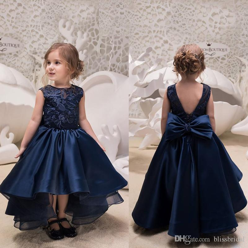 561ebe3880d Navy Blue Jewel Kids Ho Lo Formal Party Dresses Applique Lace Ruffle V Back  Bow Princess Flower Girls Dress Birthday Easter Christmas Dress Turquoise  Flower ...