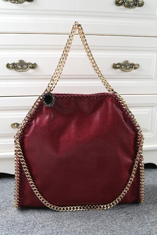 Luxury Burgundy Falabella Stella Classical Fold-over 37CM MID Three Chain  Shaggy Deer PVC Golden Chain Shopping Tote Online with  113.78 Piece on ... 389dfcf1322b8