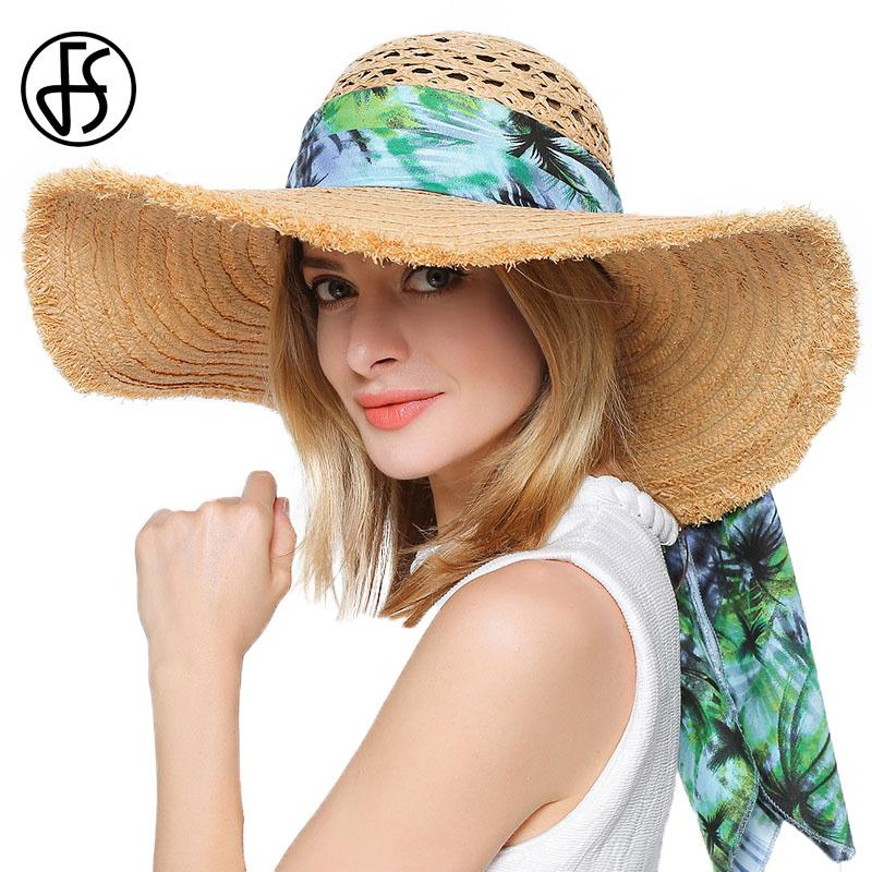 2017 Foldable Raffia Straw Hat For Women Large Wide Brim Floppy Sun Hats  Beach Summer Ribbons Female Visor Chapeau Ete Femme Flat Bill Hats Beach  Hat From ... b8a1baa38614