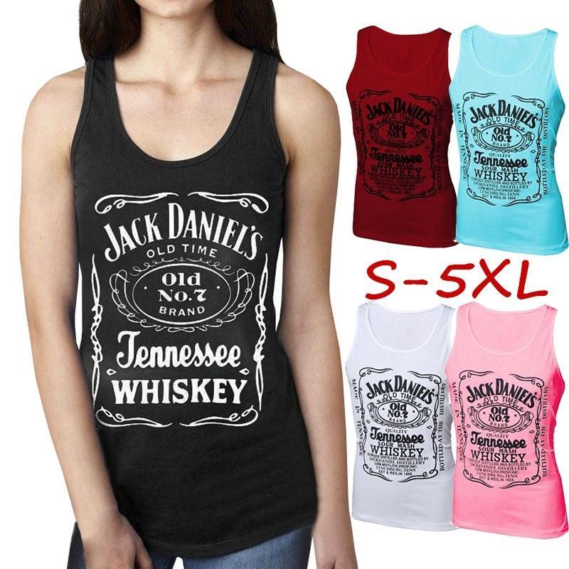 e7aa55f7e5625d 2019 Women Fashion Jack Daniels Sleeveless Tee Casual Printed T Shirts  Women Summer Cotton Tops From Carawayo