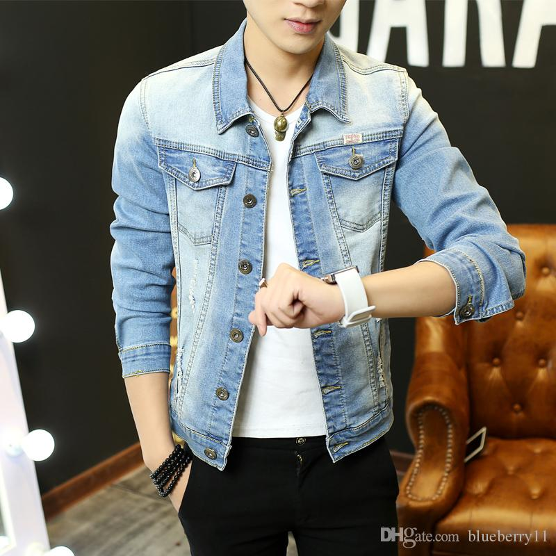 d3a1f26f3e4d Spring Men Denim Elastic Jacket Long Sleeve Scratched Hole Designs Jeans  Coat Male Classic Blue Slim Fit Mens Jackets M 3XL Casual Jacket  Lightweight Jacket ...