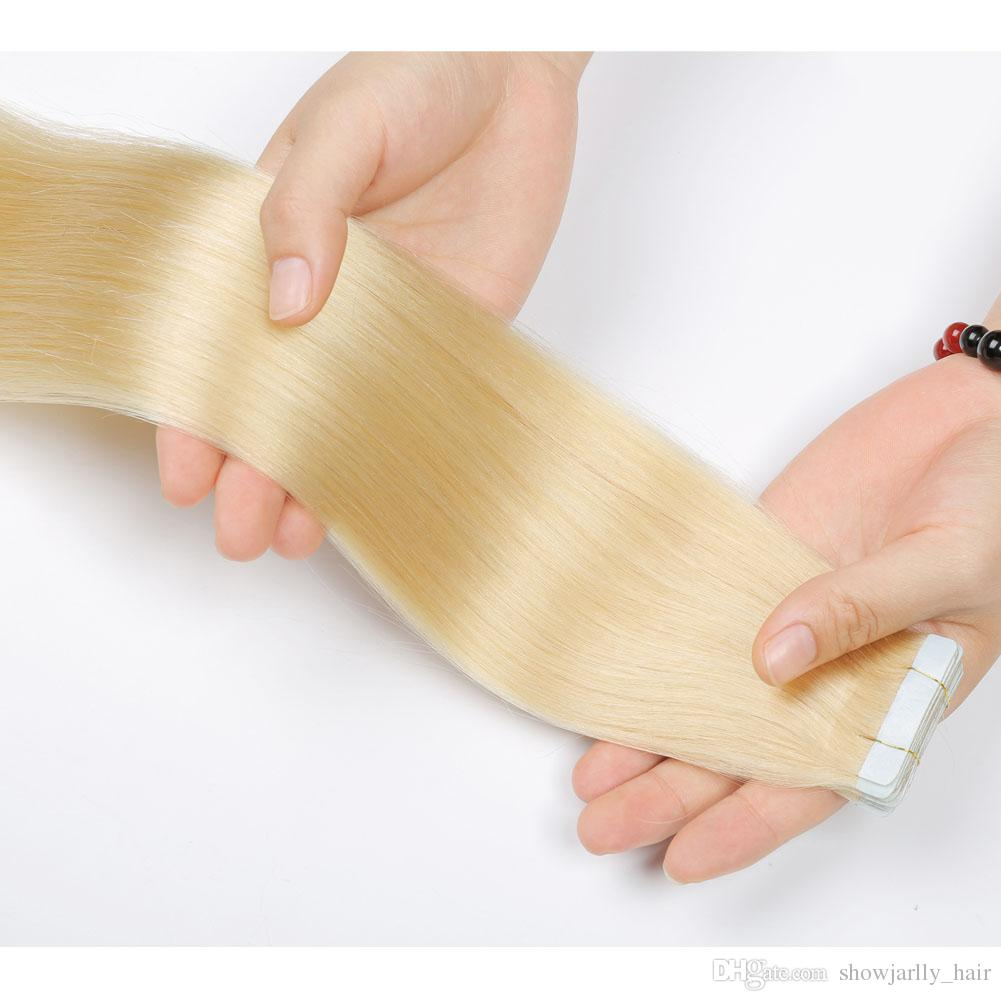 Cheap Russian Invisible Adhesive Tape Hair Extension Double Drawn