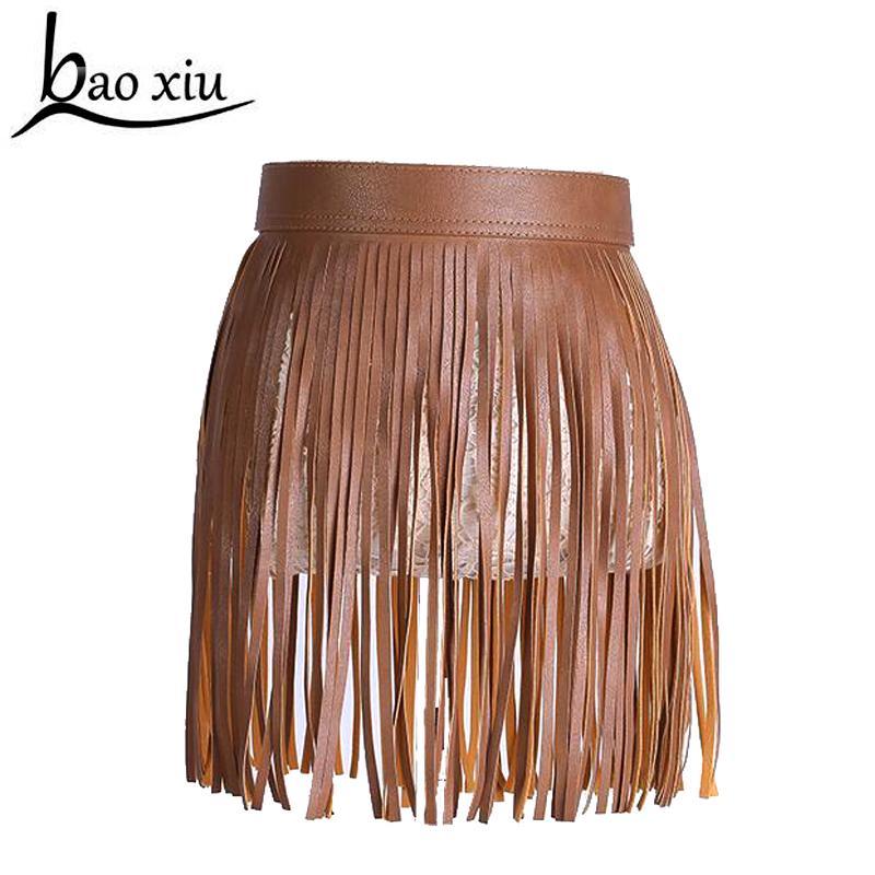 c722a4222 Venta caliente de la moda de las mujeres falda Corta de cuero de Imitación  cinturón con flecos Borla vestido de la correa decoración Punk ...