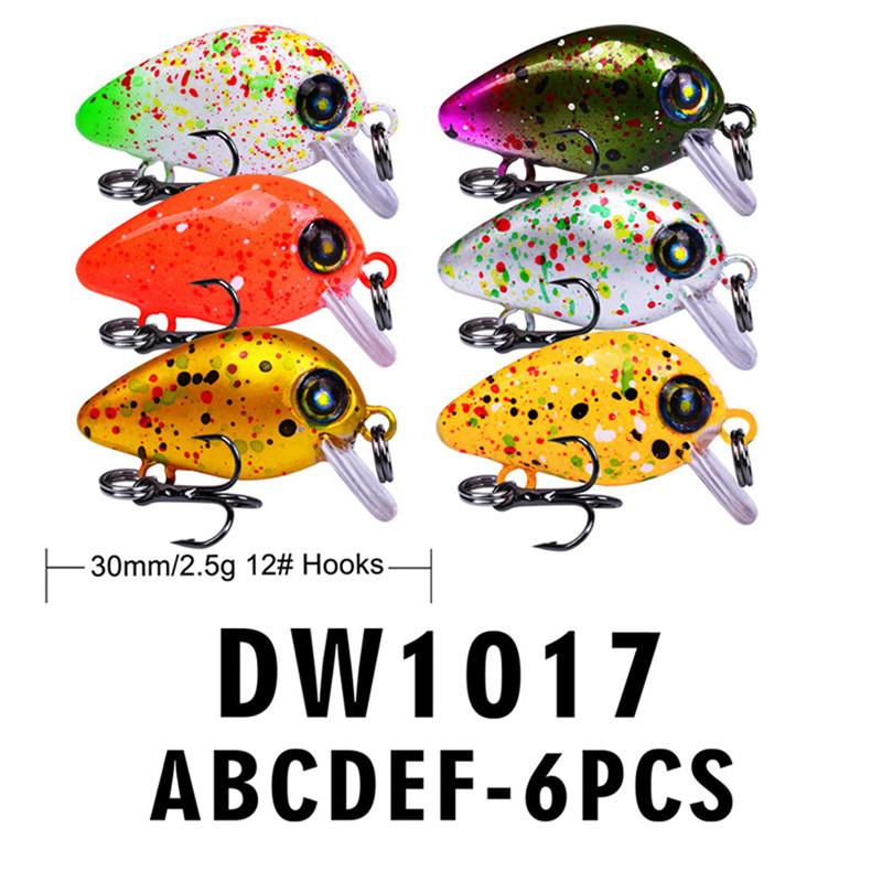 Colorful Painted big Head Small Size Crank Laser Fishing lure 2.5g 3cm Freshwater Hard Bait
