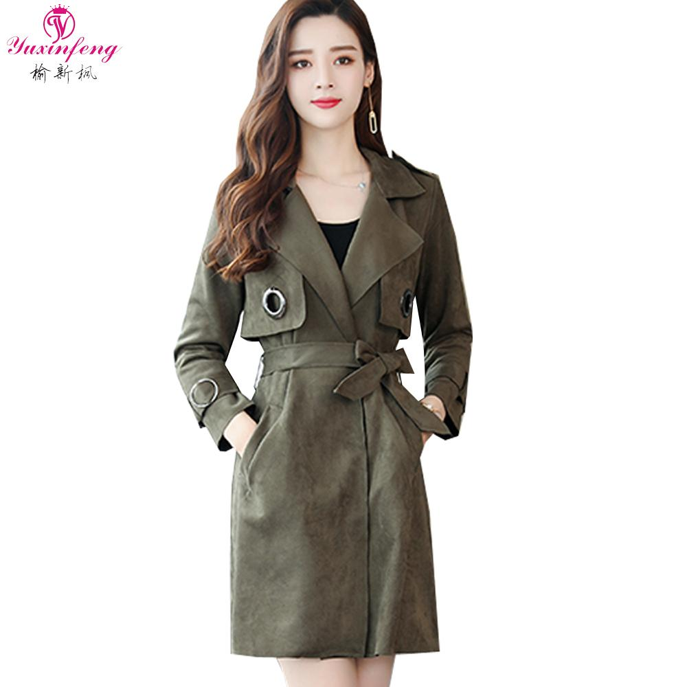 a59873f3156 2019 Yuxinfeng 2018 New Fall Long Suede Trench Coat Women Sashes Open  Stitch Womens Windbreakers Slim Feminine Coat Overcoat Female From  Manxinxin