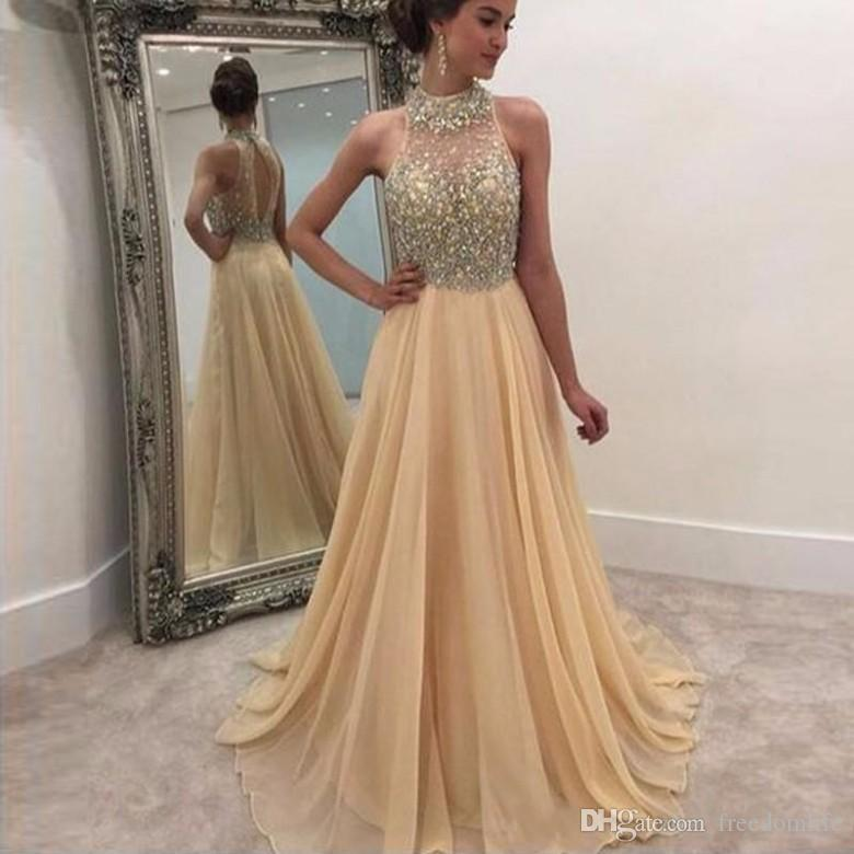 Sparkle Beaded Champagne Prom Dress A Line Chiffon High Neck ...
