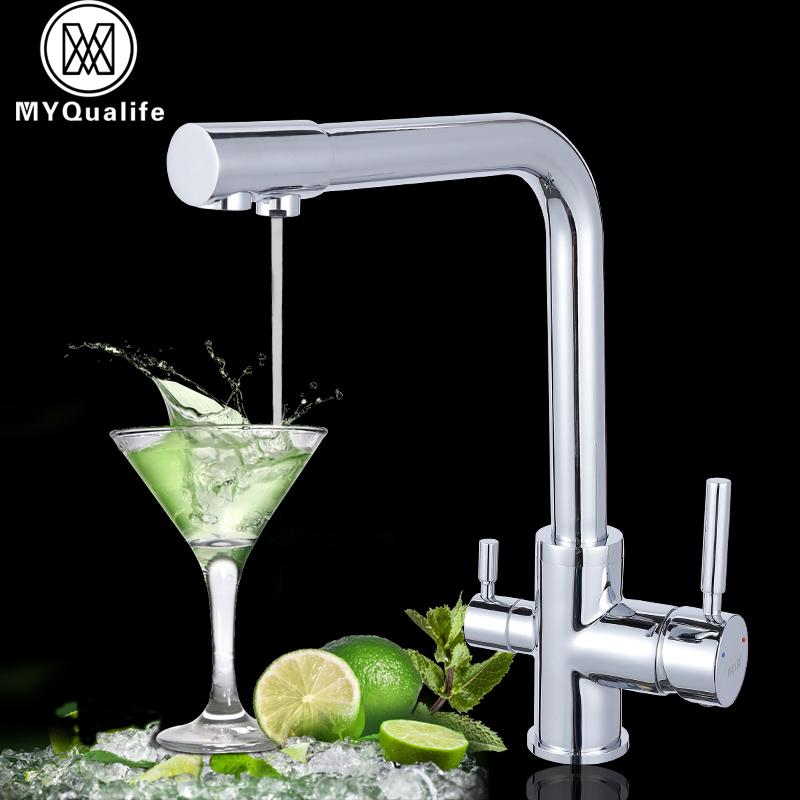 Luxury Chrome Brass Pure Water Kitchen Faucet Dual Handle Hot And ...