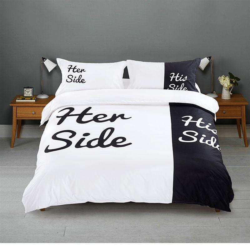 Großhandel Blackwhite Ihre Seite Seine Seite Bettwäsche Sets Queen
