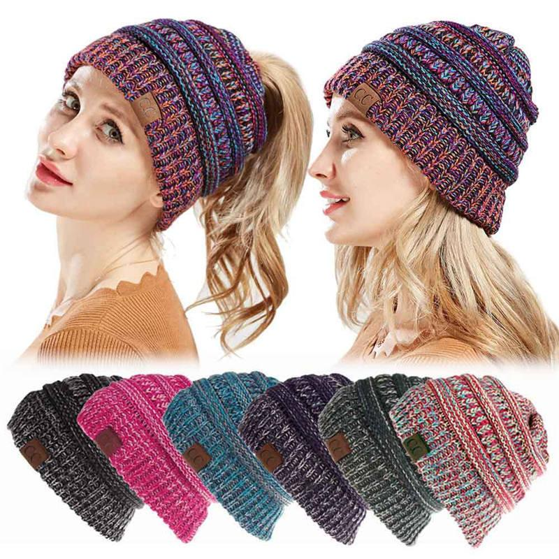 e709c015943 Women Cc Ponytail Beanie Lady Messy Bun Beanie Woman Ponytail Hat Winter  Cap Knitted Warm Holey Hats Mix Color Skullies Beanies Y18102210 Online  with ...
