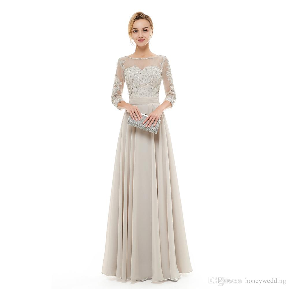 Silver Gray Evening Dresses 2019 Fall Winter 3 4 Sleeves Formal Party Prom  Dress 2018 Ladies Special Occasion Dresses Evening Wear Evening Dress  Online ... 99d112b6d4c6