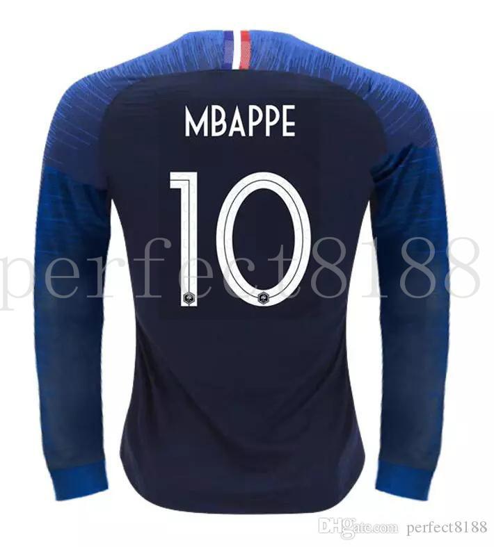 Compre 2018 Manga Longa Camisas De Futebol Francês 7 GRIEZMANN 6 POGBA 10  MBAPPE 11 DEMBELE KANTE UMTITI Personalizar Camisa De Futebol Azul Branco 2  ... dc8f8bf31f945