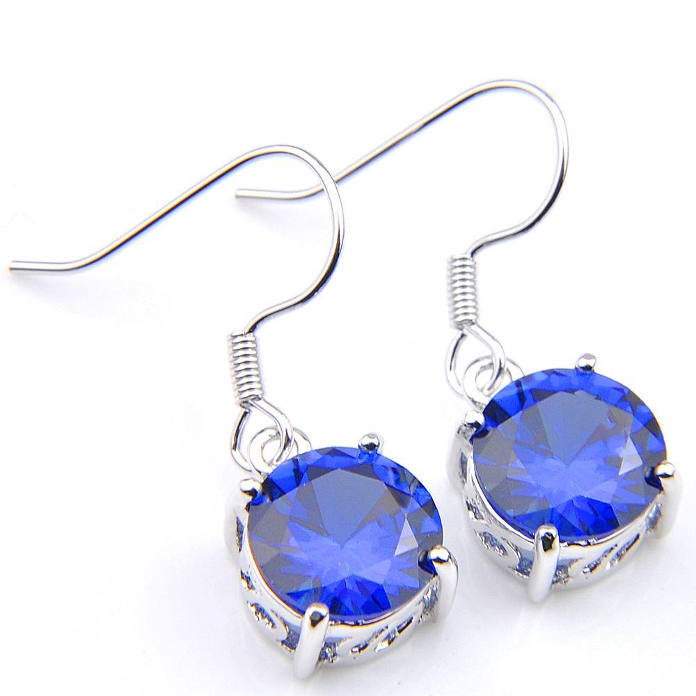 10Prs Clássico Dazzling Fogo Redonda Mystic Azul Topázio Cubic Zirconia Gemstone Brincos de Prata Dangle para Festa de Casamento Do Feriado