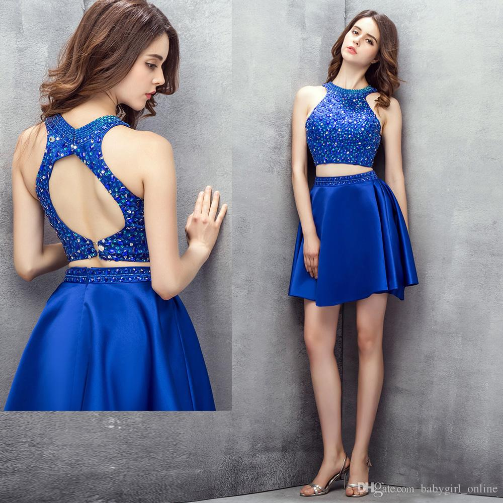 1786ceaef6d Wholesale Halter Two Pieces Dress Simple Dress Exposed Boning Formal Dress  Homecoming Dresses With Short Length CYH0000LG0285 Blue Homecoming Dresses  Under ...