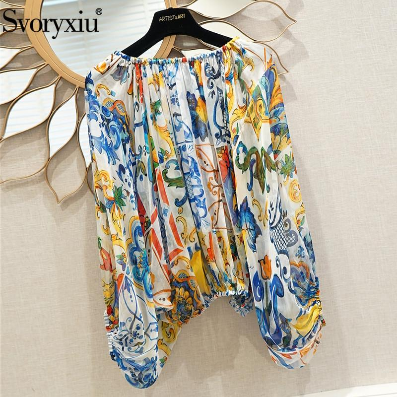 accd1f9bd62958 2019 Svoryxiu Sexy Off Shoulder Silk Blouse Shirts Women S Elegant ...
