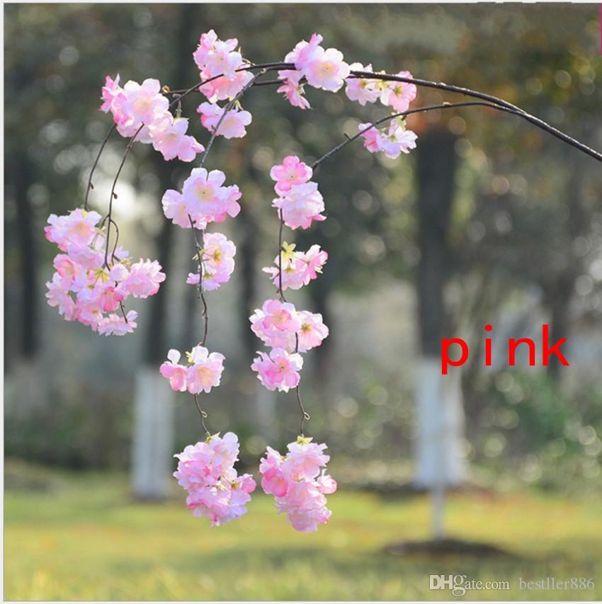 Artificial Cherry Blossom Branch Flower Wall Hanging Sakura 138cm for Wedding Centerpieces Artificial Decorative Flowers