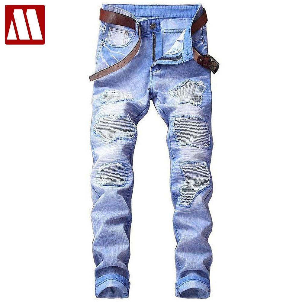 46d2440333 Compre Venta Caliente Del Otoño Del Resorte Nuevos Hombres Pantalones  Vaqueros De Algodón Street Ripped Jeans Fashion Beggar Patch Pantalones Del  Dril De ...