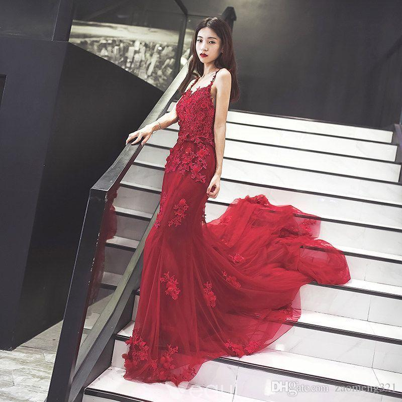 2018 Beautiful Fire Red Elie Saab Overskirts Prom Dresses Arabic Mermaid  Sheer Jewel Lace Applique Beads Tulle Formal Evening Party Gowns Gorgeous  Prom ... 7d82887090e9