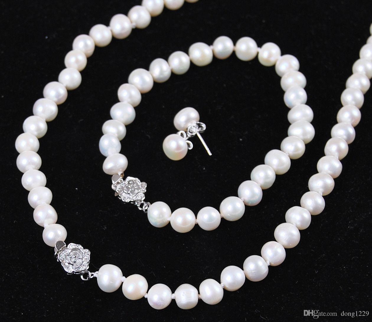 9024db95f1f1 Compre 8 9mm Blanco Akoya Cultivada Joyería De Perlas Pulsera Aretes Collar  Conjunto 18 7.5 A  22.1 Del Dong1229