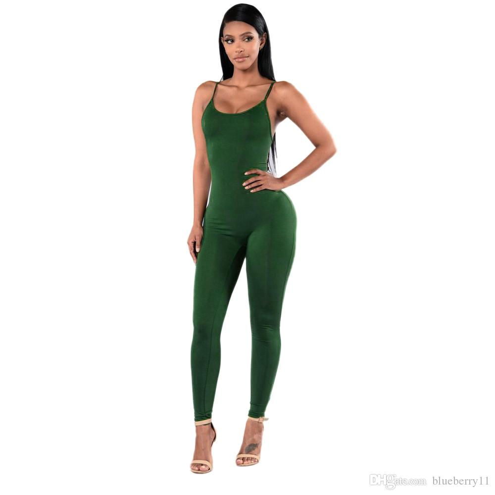 d88db2122ed6 2019 New Summer Women Jumpsuits Solid Casual Sleeveless Bodycon Rompers  Jumpsuit Black White Women Club Wear Slim Overalls S XL From Blueberry11