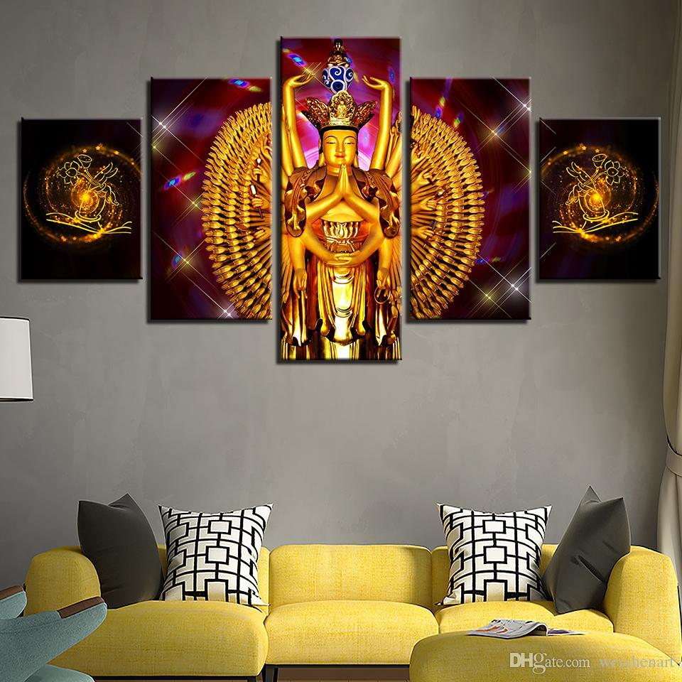 Cuadros de la pared Arte de la pared Modular HD Prints 5 Piezas Avalokitesvara Cuadros de Buda Cuatro Bodhisattva Poster Home Decor Framework