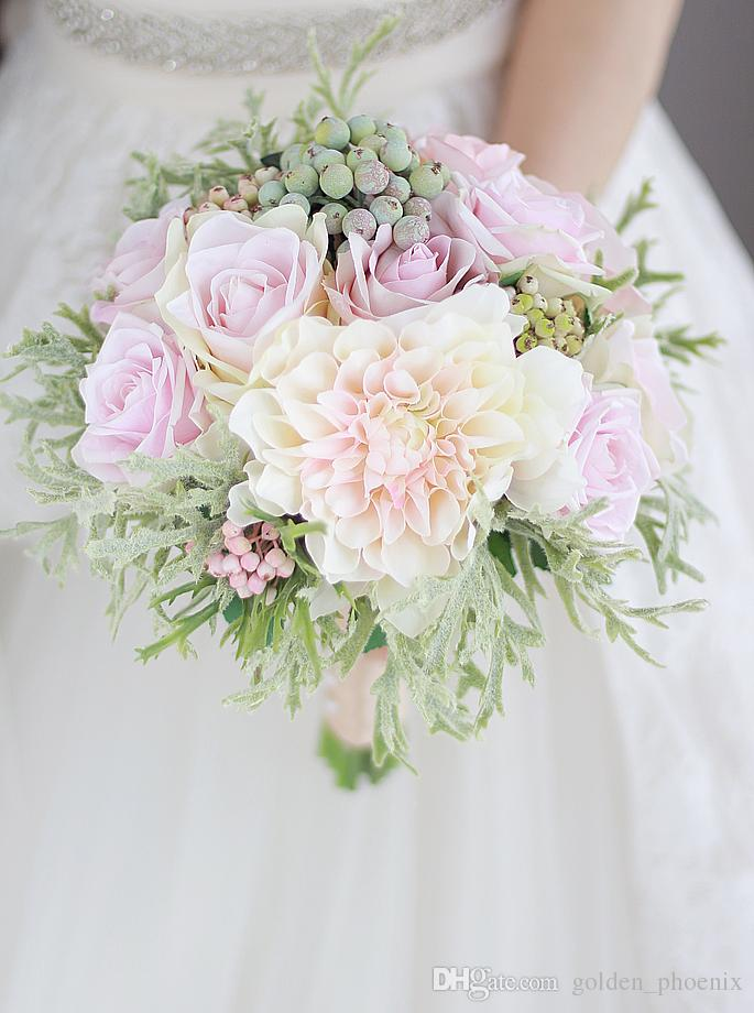 New custom bride holding bouquet of flowers Dahlia pollen purple rose green fruit decoration