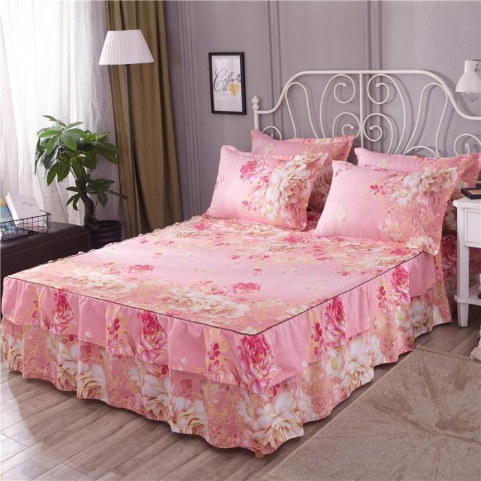 Polyester Bedcover Bedskirt Bed Sheet Set Bedclothes Flowers Colourful Single Double Size Sheets Twin Full Queen Size 160x200cm
