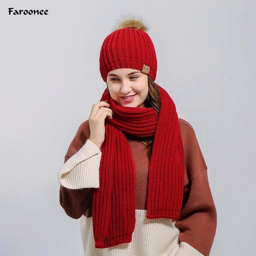 604bf0020c 2018 New Woman Inverno cappello e sciarpe set lavorato a maglia  all'uncinetto solido beanie pom cappello sciarpa set gioventù ragazze  regalo di ...