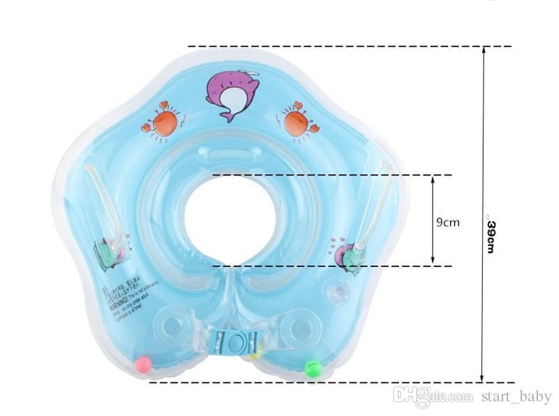 Nuevo Delfín Infantil Cuello Flotador Círculo para el baño Natación PVC de dibujos animados Inflable 39 cm / 15 pulgadas Círculo de Cuello de Seguridad para bebés Doble airbags B11