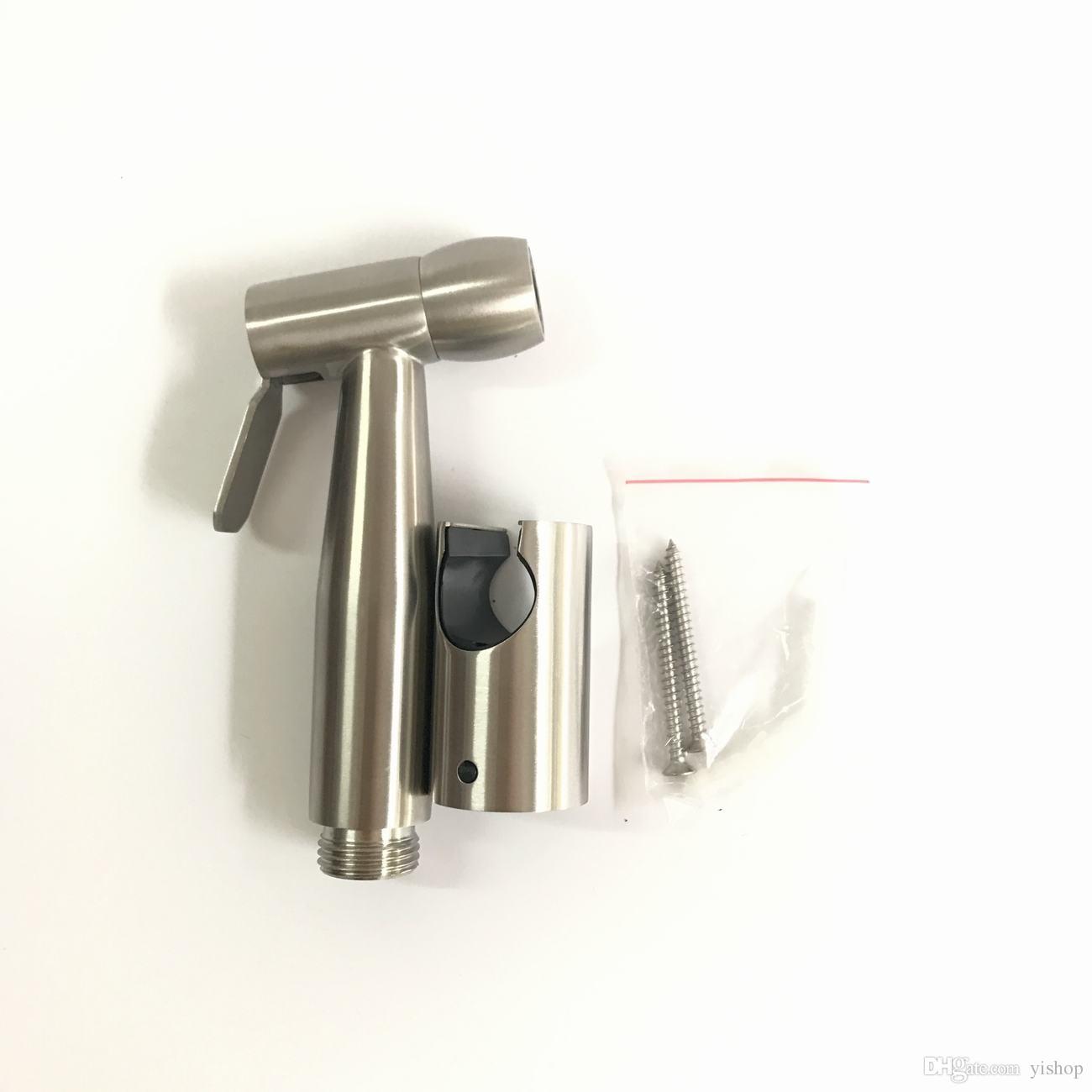 Stainless Steel Bathroom Toilet Flusher Bidet Sprayer Cleaner Tools Spray Enhanced pressure Hand Shower Set + Shower hose + wall bracket