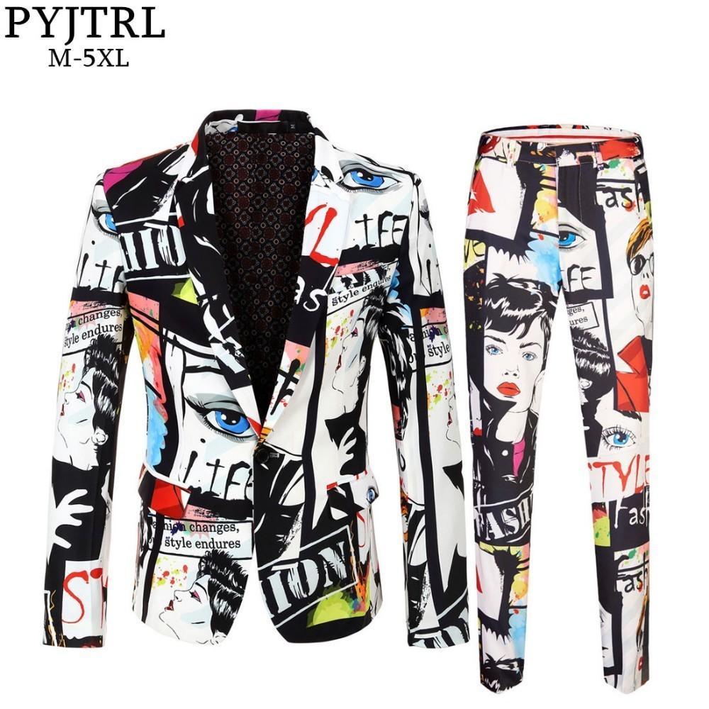 1cd00611bac PYJTRL Brand Tide Mens Fashion Print Set Casual Suits Plus Size Hip ...