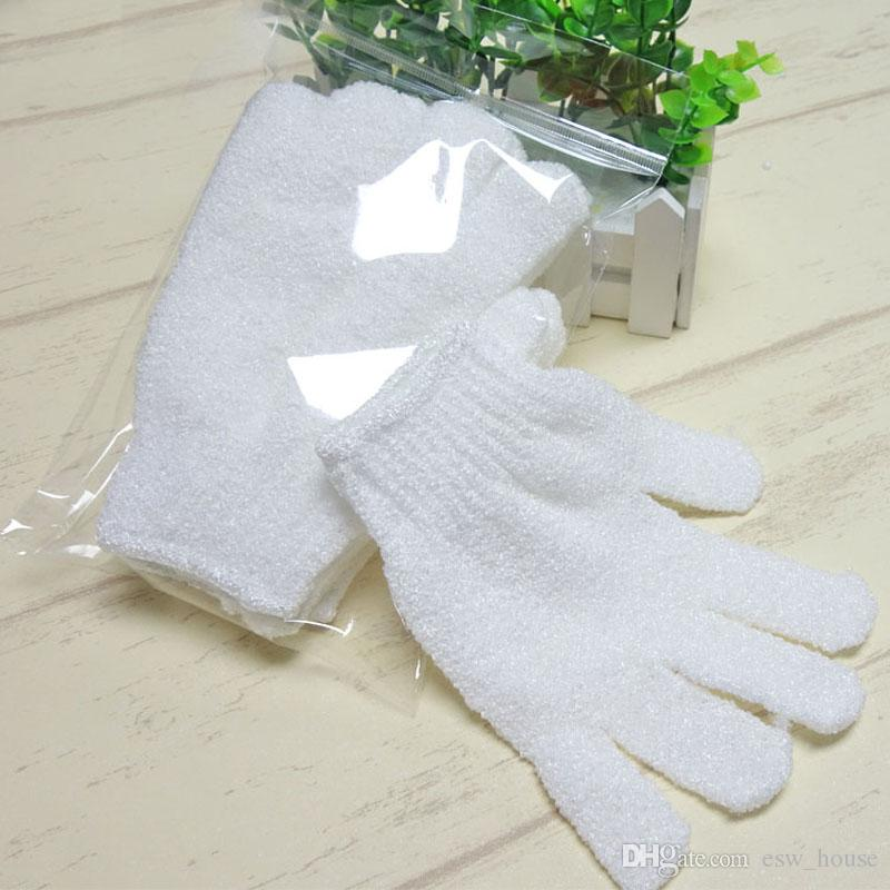 New White nylon body cleaning shower gloves Exfoliating Bath Glove Five fingers Bath Gloves Easy to clean