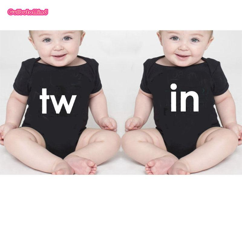 1497d00515a0 Culbutomind Black Twins Outfit Twin Printed Short Sleeve Cotton Baby ...
