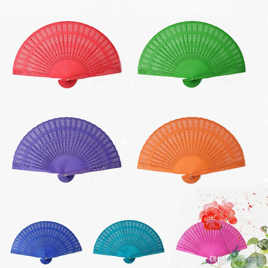 Fantastic 20cm Chinese Vintage Style Wooden Hollow Fans Bamboo ...