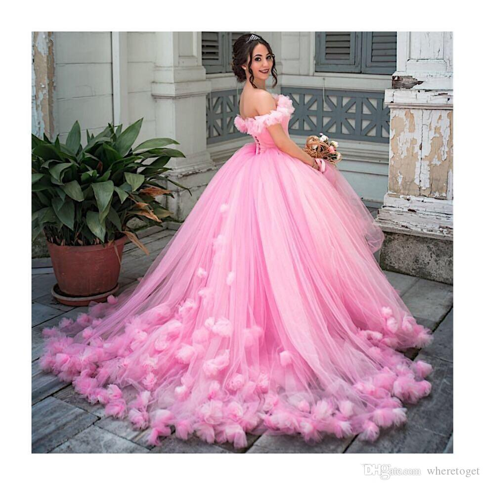 Großhandel Quinceanera Kleider Ballkleid Prinzessin Puffy 19 Rosa Tüll  Maskerade Bonbon 19 Kleid Backless Abschlussball Mädchen Vestidos De 19  Anos