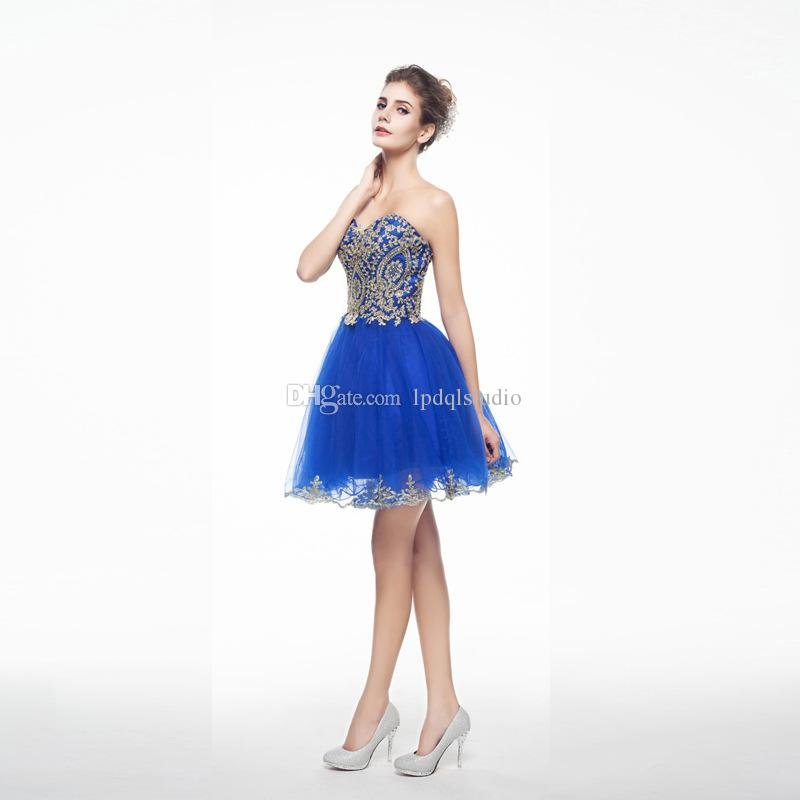 Sexy White,Red,Blue,Dark Navy Prom Dresses with gold Applique Side Zipper Cheap Party Dress Custom Made Plus Size Prom Dresses 2018