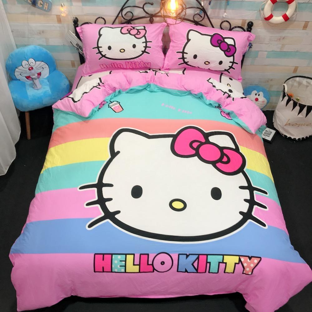 Rainbow Color Hello Kitty Stripe Bedding Set Kid Girl Bedroom Bed Sheets  Duvet Cover Flat Sheet Soft Pillowcase Twin Queen Size Duvet Covers Queen  Sale ...