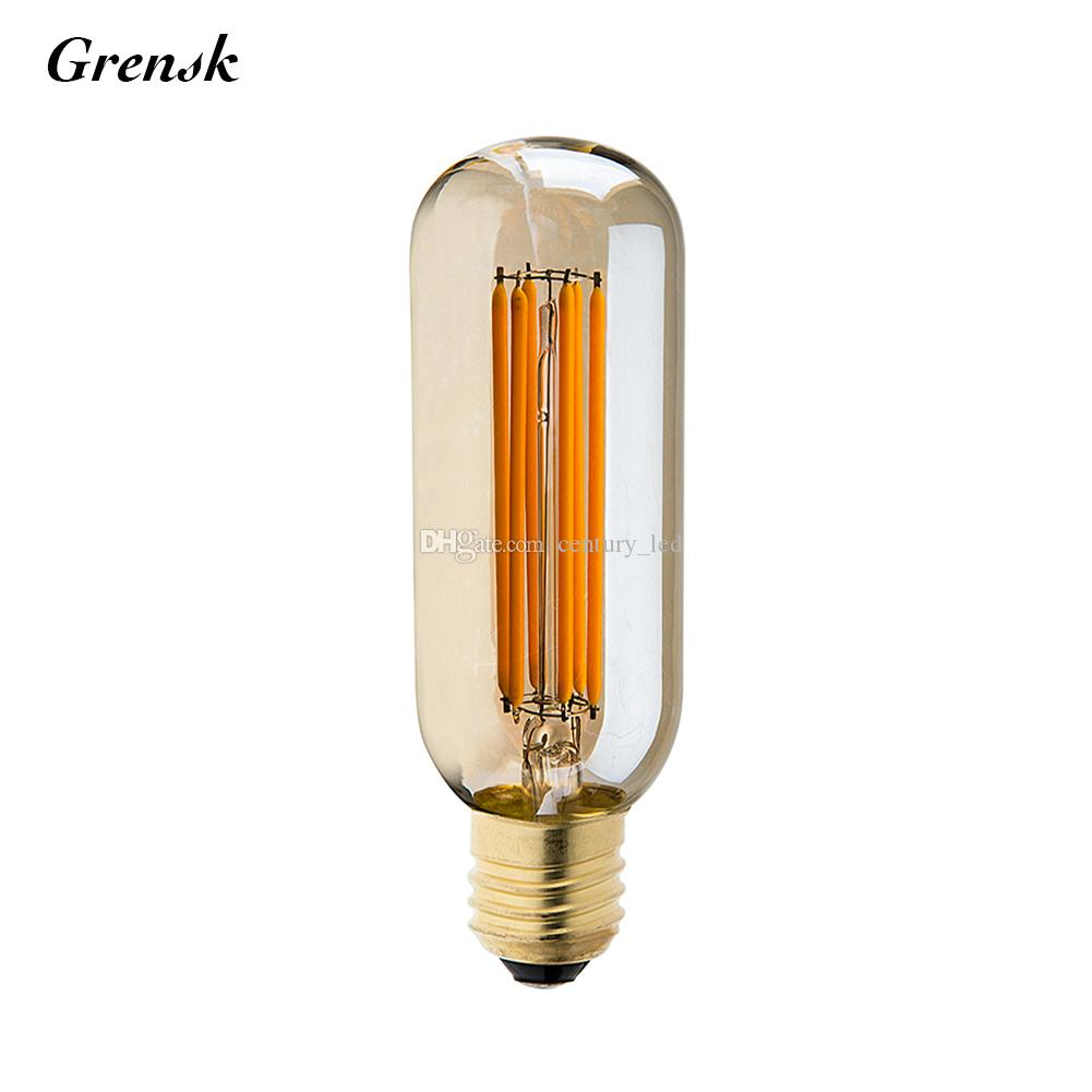vintage led filament light bulb 6w 2200k gold tint edison t45